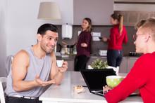 Man Talking To Guy In Kitchen ...