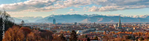 Autumn panorama of the city of Turin (Torino), Piedmont, Italy with the surrounding Alps mountains - 287810547