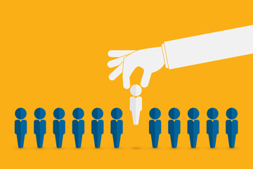 Human resources concept. Hand picking up a candidate, Vector business