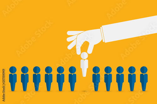 Obraz Human resources concept. Hand picking up a candidate, Vector business  - fototapety do salonu