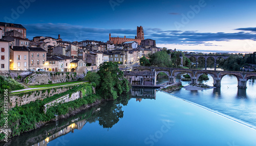 Cityscape of Albi at night in France Wallpaper Mural