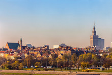 City Skyline With Old Town Houses And Palace Of Culture And Science, Warsaw, Poland
