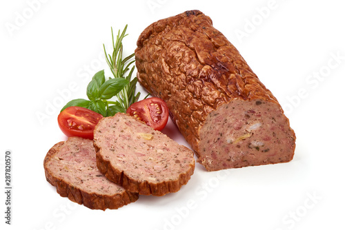 Baked meatloaf, minced meat roll, isolated on white background Canvas Print