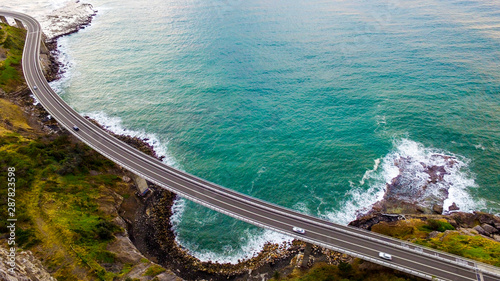 Fototapeta Aerial shot of Sea Cliff Bridge between Coalcliff and Clifton