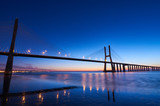 Long exposure shot of Vasco da Gama bridge in Lisbon