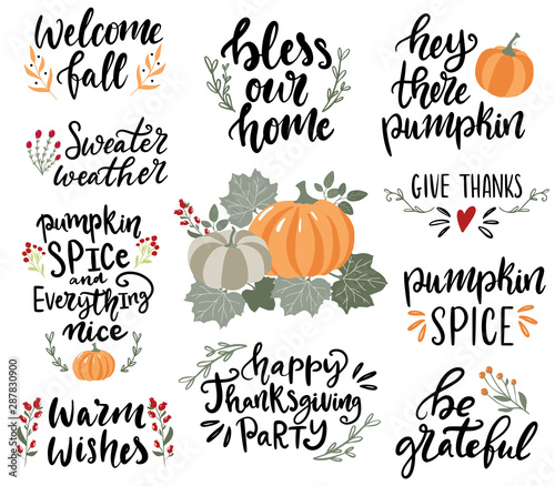 Set of hand drawn lettering fall, autumn and Thanksgiving quotes and pharses for cards, banners, posters design Tapéta, Fotótapéta