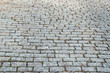 Covering of old rectangular stone paving, paving slabs.