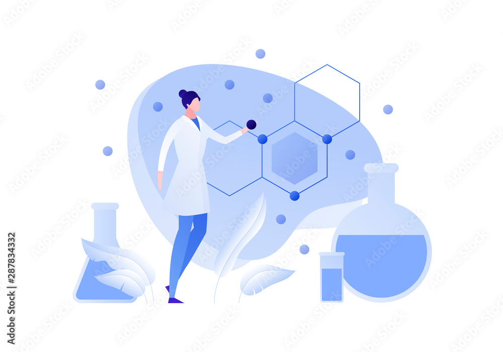 Fototapety, obrazy: Vector flat chemistry science people illustration. Female scientist holding atom with formula and tube on background. Concept of biochemistry, research, analysis Design element for banner, poster, web