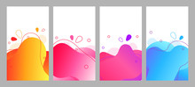 Abstract Fluid Social Media Background Set. Wavy Bubble Web Banner, Screen, Mobile App Neon Colorful Design. Flowing Liquid Gradient Shapes. Geometric Social Network Stories Theme Template Pack