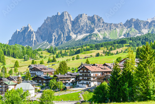 Photo Stands South America Country Alpine resort in the Dolomites,Cortina D Ampezzo,South Tyrol,Italy,Europe