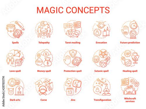 Canvas Print Magic concept icons set