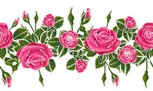 Flat Red Black Roses Flower Silhouette Horizontal Pattern Lace Ribbon Border , Repeatable Seamless Tile
