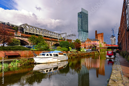 Beetham tower reflection in Rochdale canal ,Manchester City Canvas Print