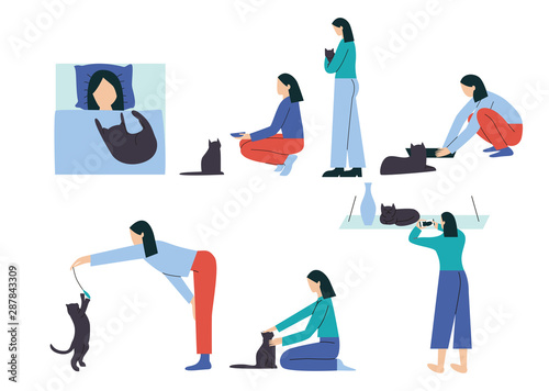 Fototapeta Woman performing different activities with her cat - sleeping, feeding, hugging, cleaning litter box, playing, petting, taking a picture. Spending time with cat collection, Flat vector illustration obraz na płótnie