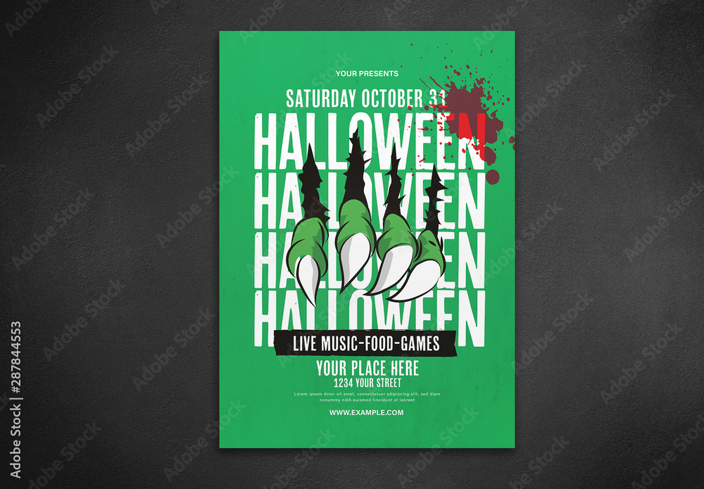 Fototapety, obrazy: Graphic Halloween Flyer Layout
