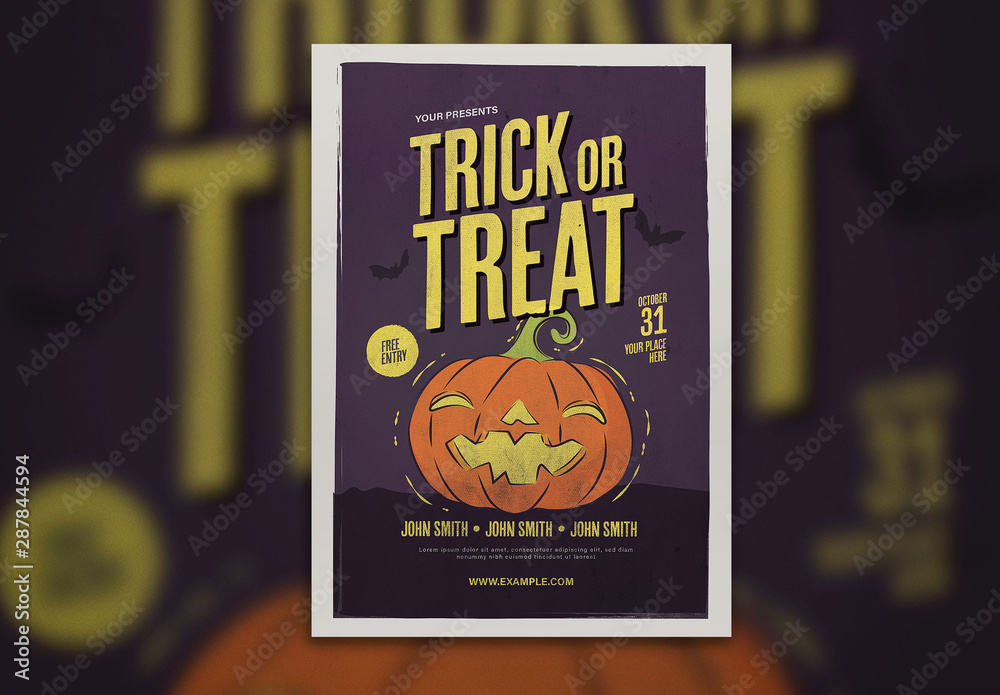Fototapety, obrazy: Graphic Trick or Treat Halloween Flyer Layout