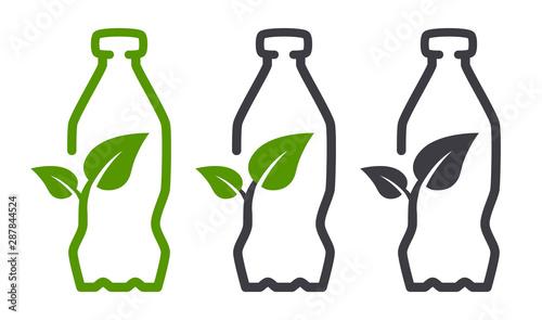 Fototapeta Eco bio leaf bottle vector icon obraz