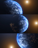 Mix of 3D rendering The Planet Earth, World with sun. Realistic Hiqh quality 3 vertical illustration