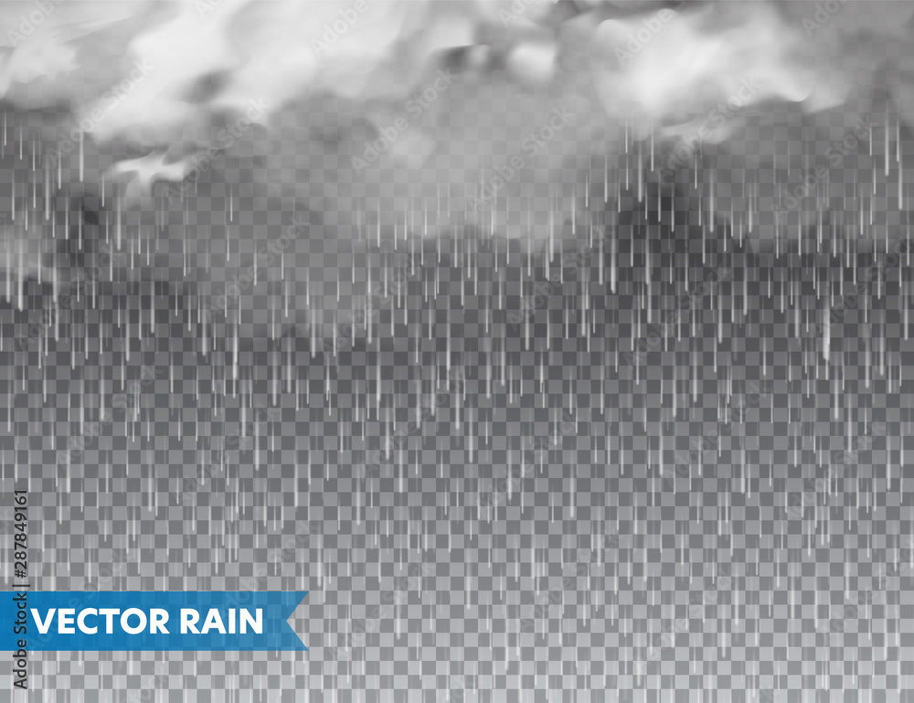 Fototapety, obrazy: Realistic rain with clouds on transparent background. Rainfall, water drops effect. Autumn wet rainy day. Vector illustration.