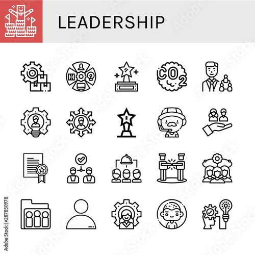 Fotografía  Set of leadership icons such as Peak, Management, Role, Prize, Co, Manager, Lead