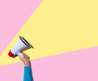 canvas print picture - Person holding a megaphone with hard shadow
