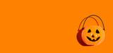 Fototapeta Kawa jest smaczna - Halloween orange pumpkin - overhead view flat lay