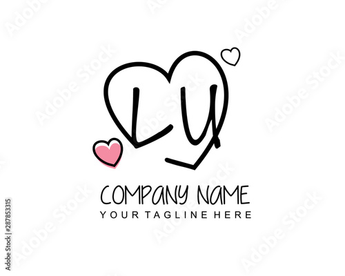 Initial LU letter handwriting logo with heart template vector Fototapete