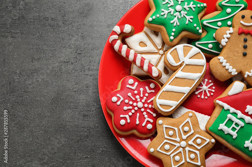 Fototapety, obrazy: Tasty homemade Christmas cookies on grey table, top view. Space for text