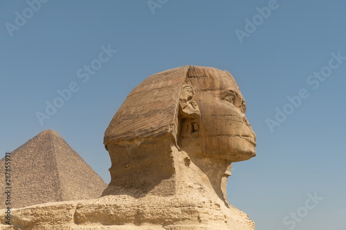 The Great Sphinx of Giza with Pyramid in Background