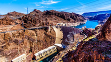 View Of The Hoover Dam, A Concrete Arch Dam In The Black Canyon Of The Colorado River, On The Border Between Nevada And Arizona. Viewed From The Mike O'Callaghan–Pat Tillman Memorial Bridge