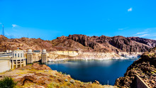 Low Water Level In Lake Mead And The Intake Towers That Supply The Water From Lake Mead To The Powerplant Turbines Of The Hoover Dam. A Hydroelectric Power Station On The Border Of Nevada And Arizona