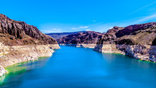 Low Water Level In Lake Mead, Formed By The Colorado River And The Construction Of The Hoover Dam In Black Canyon On The Border Of The States Of Nevada And Arizona