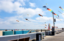 Flags And Kites On The Beach In Ocean City, Maryland, USA