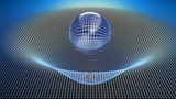 Glass sphere over a curved grid - 3D rendering illustration