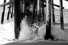 Under The Pier Crashing Waves - B&W