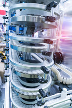 Drinks Move On Conveyor Belt At Large Factory