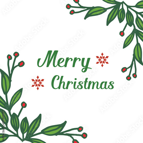 Wall Murals Retro sign Border banner of merry christmas, with feature red flower frame. Vector