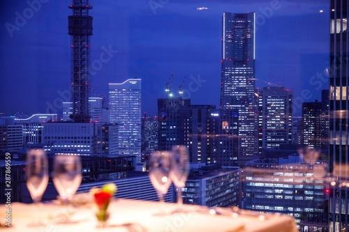 night view dinner  夜景 レストラン Fototapeta