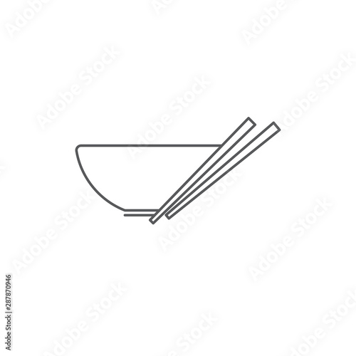 Cuadros en Lienzo Noodles bowl vector icon symbol isolated on white background