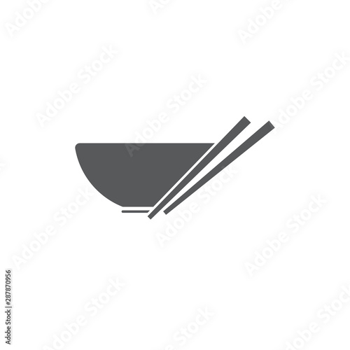 Fotografía Noodles bowl vector icon symbol isolated on white background
