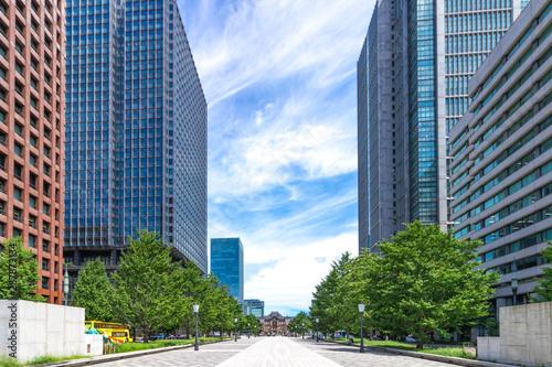 (東京都ー都市風景)大手町広場から望む東京駅側の風景2 Wallpaper Mural