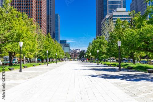 (東京都ー都市風景)大手町広場から望む東京駅側の風景3 Wallpaper Mural