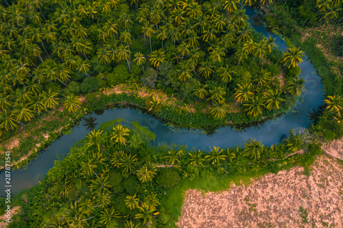 aerial-view-from-drone-of-devious-river-and-agriculture-area