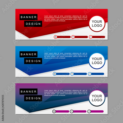 Fototapeta Banner template design with red and blue color. Modern banner template concept suitable for web. obraz