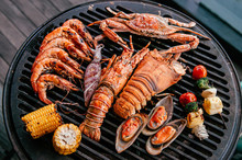 Lobster And Mix Seafood Barbecue Cokking On Grill
