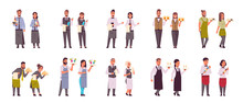 Set Professional Waiters Pairs In Different Poses Men Women Restaurant Workers In Uniform Serving Concept Flat Full Length White Background Horizontal