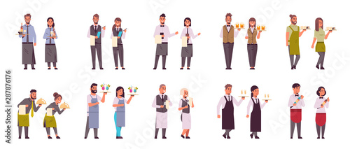 Fototapeta set professional waiters pairs in different poses men women restaurant workers in uniform serving concept flat full length white background horizontal obraz