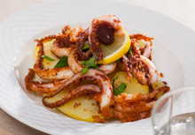 Fried Tentacles Squid With Potatoes