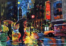 Acrylic Drawing Of The Night City. People Rush Home, It Rains Outside.