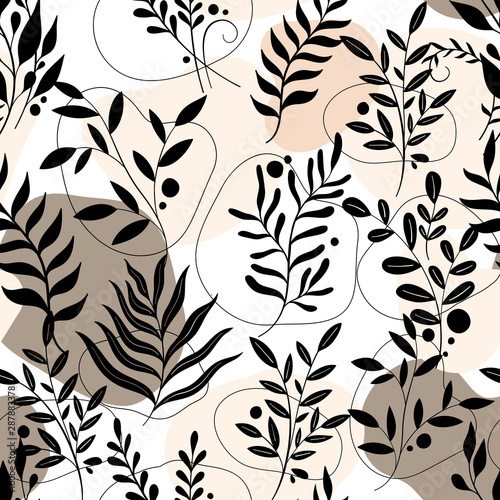 Pattern seamless nature branch.Floral decoration,vinrage style.Elegant plant drawing. Wall mural